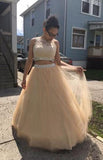 Discount Tulle Appliques Long 2 Pieces Prom Dress Custom Made Long Beadings Graduation Party Dress Fashion Long School Dance Dress Sweet 16th Dress PD823