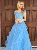 Custom Made 2 Pieces Beaded Appliques Prom Dress Fashion Layers Tulle Graduation Party Dress Graduation Dress PD134
