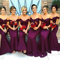 Off Shoulder Long Mermaid Bridesmaid Dress Custom Made Fashion Long Appliques Wedding Party Dresses BD108