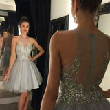 Custom Made Tulle Beading Homecoming Dress Short A-Line Prom Party Dress HD034