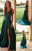 Simple V-Neck Side Slit Satin Prom Dress with Spaghetti Straps Custom Made Hunter Evening Party Dress Fashion Long Satin School Dance Dress PD536