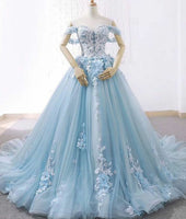 Custom Made Sweetheart Tulle Wedding Ball Gown with Appliques and Flowers Off Shoulder Bridal Weddin Dress WD004