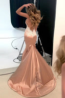 Cuatom Made Sexy Mermaid Backless Prom Dress Fashion Appliques Satin Evening Dress PD110
