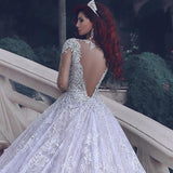 Luxurious O-Neck Beaded Tulle Lace Wedding Ball Gown Bridal Dress with Long Train WD003