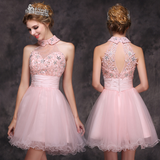 Cute Tulle Beading Homecoming Dress with Collar Short Appliques Sweet 16th Party Dress HD027