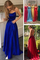 Simple Long Side Slit Prom Dress with Pockets Custom Made Long Spaghetti Straps Backless Evening Party Dress Fashion Long Sexy School Dance Dress PD793
