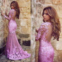 Custom Made Full Sleeves Lace Appliques Prom Dress Elegant See Through Mermaid Evening Dress PD119