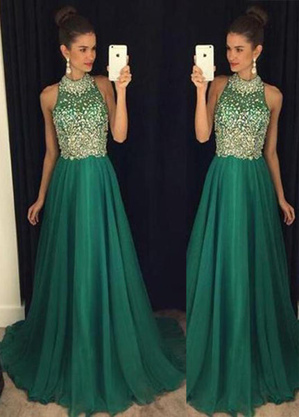 High Neck Beaded Chiffon Prom Dress Elegant Dark Green Evening Dress PD034