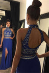 Sexy Two Piece Open Back Prom Dress Side Split Beaded Chiffon Evening Dress PD024