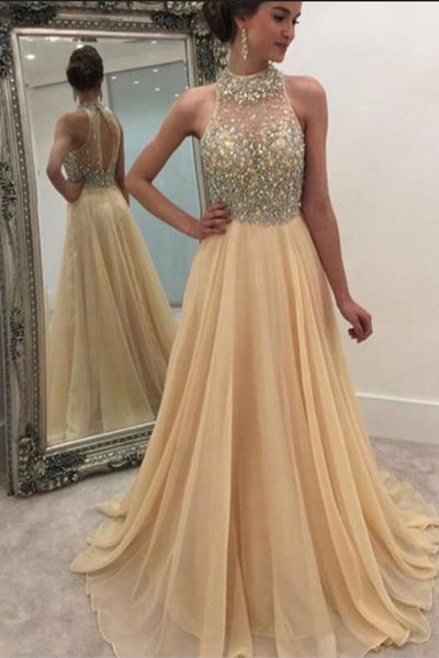 Fashion High Neck Beaded Chiffon Prom Dress Sexy See Through Bodice Evening Dress PD089