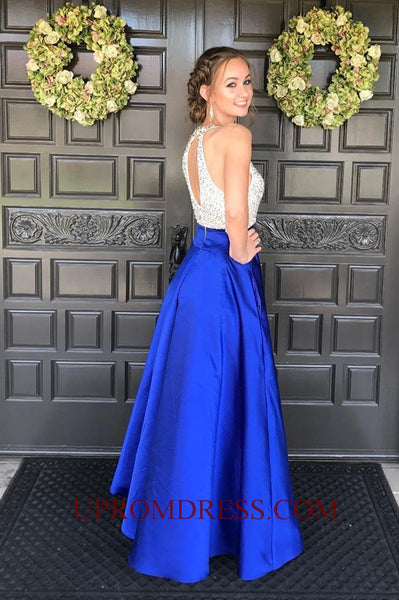 Discount Fashion Long Prom Dress with Sequins Custom Made Beaded Satin Graduation Party Dress PD144