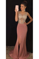 Sexy See Through Beaded Chiffon Prom Dress Side Split Chiffon Evening Dress PD072