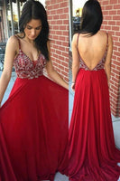 Fashion V-Neck Beaded Red Chiffon Prom Dress Custom Made Long Open Back Evening Dress PD155