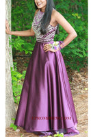 Discount Fashion Satin Beading Long Prom Dress Custom Made Beaded Purple Graduation Party Dress PD141