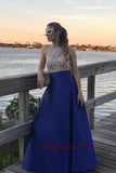 Discount Fashion Sexy Open Back Beaded Satin Prom Dress Custom Made Royal Blue Graduation Party Dress PD137