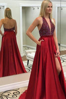 Fashion Sexy Deep V-Neck Side Slit Prom Dress Custom Made Beaded Satin Graduation Party Dress PD124
