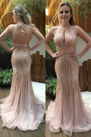 Sparkling Beaded Tulle Prom Dress Open Back Mermaid Evening Dress PD090