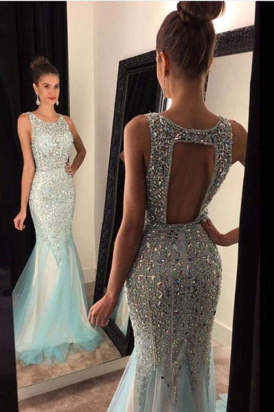 Sparkling Beaded Tulle Prom Dress Open Back Mermaid Evening Dress PD042