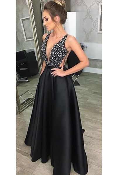 Deep V-Neck Backless Black Satin Prom Dress with Beadings Fashion Long A-Line Party Dress PD210