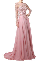 Beaded Chiffon Full Sleeves Prom Dress Sexy See Through Evening Dress PD019