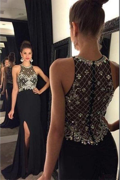 O-Neck Beaded Chiffon Prom Dress Sexy Black Side Split Evening Dress PD020