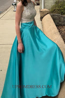 Discount Fashion Beaded Long Prom Dress with Sequins Custom Made Satin Beading Graduation Dress PD150