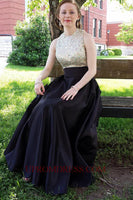 Discount Fashion Beaded Satin Prom Dress with Sequins Custom Made Long Black Homecoming Dress PD151