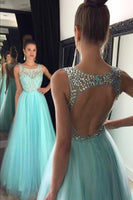 O-Neck Beaded Tulle Prom Dress Sexy Open Back A-Line Evening Dress PD061