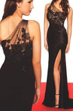 Sexy High Side Split Black Prom Dress One Shoulder Chiffon Lace Evening Dress PD065