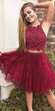 Custom Made 2 Pieces Beaded Lace Homecoming Dress Fashion Short Tulle Gratuation Party Dress HD031