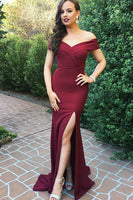 Custom Made Sexy Off Shoulder Side Slit Prom Dress Burgundy Long Mermaid Evening Dress PD171