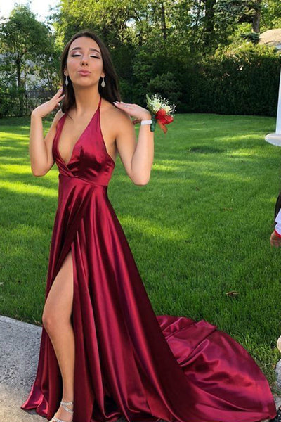 Fashion Simple Sexy Side Slit Long Prom Dress Custom Made A-Line Backless Evening Dress PD192