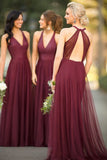 Elegant Burgundy V-Neck Tulle Bridesmaid Dress Custom Made Fashion Long A-Line Wedding Party Dresses BD039