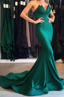 Fashion Sweep Train Mermaid Prom Dress Custom Made Hunter Satin Long Formal Evening Gowns PD320