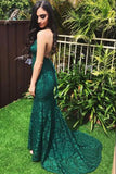 Fashion Beaded Lace Mermaid Prom Dress Elegant Backless Dark Green Long Evening Gowns PD229