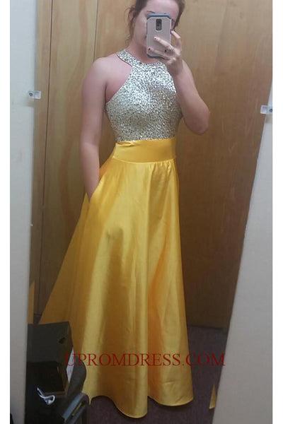 Discount Fashion Halter Beading Prom Dress with Sequins Custom Made Long Satin Homecoming Dress PD146