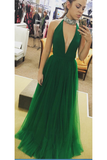 Sexy Deep V-Neck Tulle Prom Dress Custom Made Fashion A-Line Long Evening Dress PD214