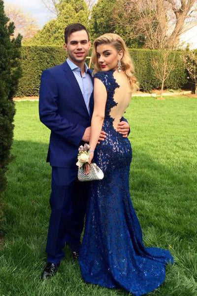 Custom Made Sexy Backless Mermaid Prom Dress Elegant Long Navy Lace Evening Dress PD120