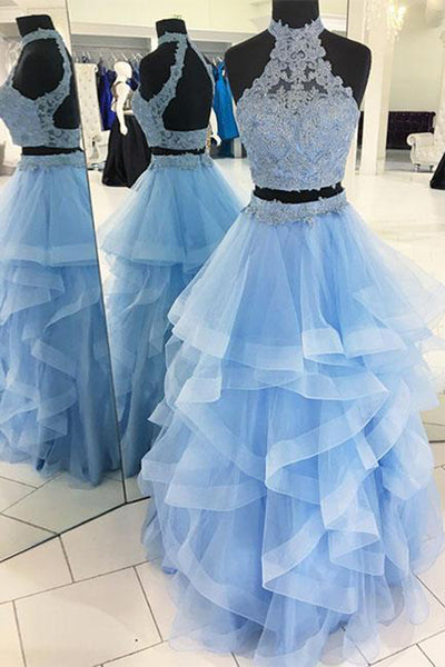 Custom Made 2 Pieces Halter Appliques Prom Dress Fashion Layers Tulle Graduation Party Dress PD135