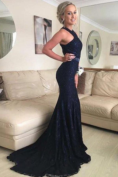 Elegant Mermaid Lace Beading Prom Dress Fashion Long Evening Dress PD082