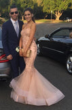 Sweetheart Mermaid Tulle Lace Prom Dress Elegant Long Pink Evening Dress PD068