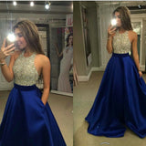 Halter Beaded Backless Prom Dress Custom Made Dark Royal Blue Long A-Line Beadings Evening Dress Fashion Long Satin Graduation Party Dresses PD002