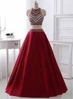 Fashion Two Piece Beaded Long Prom Dress Custom Made 2 Pieces Graduation Party Dress PD160