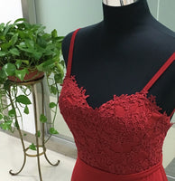 Sweetheart Satin Lace Prom Dress Sexy Mermaid Red Backless Evening Dress PD006