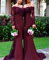 Sweetheart Off Shoulder Bridesmaid Dress Mermaid Burgundy Lace Formal Dress BD002