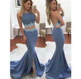 Sexy Halter Open Back Satin Prom Dress 2 pieces Mermaid Homecoming Dress PD048