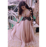 Deep V-Neck Full Sleeves Prom Dress A-Line Chiffon Lace Homecoming Dress PD049