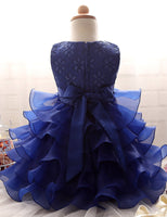 Cute Lace Organza Layers Flowergirl Dress with Diamonds and Bow Belt FD001