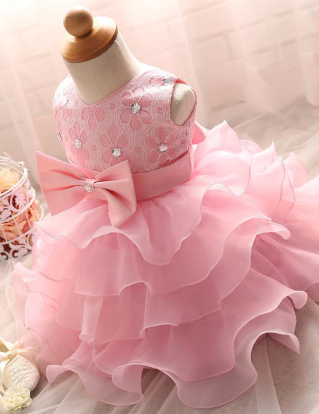 Cute Lace Organza Layers Flowergirl Dress with Diamonds and Bow Belt FD003