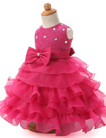 Cute Lace Organza Layers Flowergirl Dress with Diamonds and Bow Belt FD002